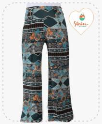 Calça Pantalona (Floral Verde e Marrom)