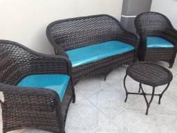 Conjunto de sofá canela seca em fibra sintética