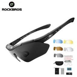 Título do anúncio: Óculos Ciclismo RockBros Esportes c/ 5 Lentes e acessórios Proteção UV Pesca Corrida Tenis