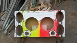 Caixa de som dois sub 12 e 4 6x9