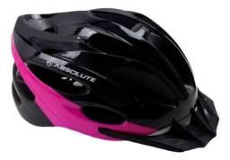 Título do anúncio: Capacete Mtb Absolute Nero Com Led Pto/pink Rosa NOVO. R$120,00