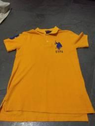 Camisa Polo USPA infantil Eua Amarela