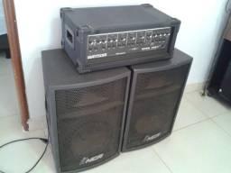 Amplificador + 2 (Duas) Caixas Acústicas