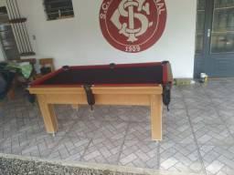 Mesa Tentação MDF Cor Cerejeira Tecido Preto e Borda Vermelha Mod. FVHO9057