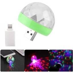 Micro Lâmpada Led Colorida Giratória Usb Small Magic Ball
