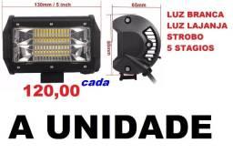 Farol De Milha Barra Led 13 cm 10 a 30v / 72w / Strobo 5 Funções Moto e Carro