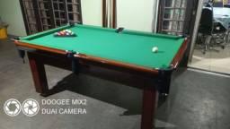 Mesa Tentação 1,93 x 1,18 Cor Imbuia Tecido Verde Mod. PUMN8244