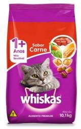 Título do anúncio: 2 Sacos de Ração Whiskas: 10 KG (lacrado) + 5 KG (aberto) no sabor Carne   Total = 15 KG