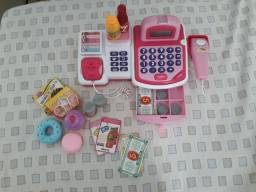 Caixa registradora infantil com calculadora de verdade!