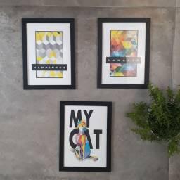 Trio de quadros decorativos