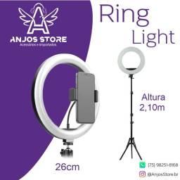 Título do anúncio: Ring Light Iluminador Led 26cm Tripé 2,10m Suporte celular + Frete grátis + Parc. S/ Juros