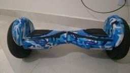 """Skate Elétrico Hoverboard 10"""" Com Bluetooth Azul Camuflado"""