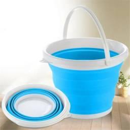 Balde Dobravel Silicone Retratil Agua 10 Litros Portatil Cozinha Azul ou Vermelho