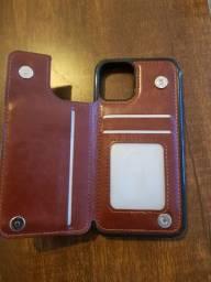 Capa  carteira em couro para iPhone 11 Pro
