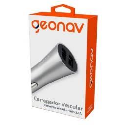 Carregador Veicular USB - com 2 saídas USB 3.4A - Alumínio Geonav Original