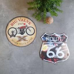 Dupla placas decorativas em aço