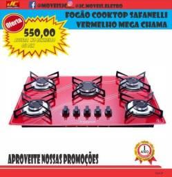 Título do anúncio: Fogão Cooktop Safanelli Vermelho Mega Chama Poucas Unidade
