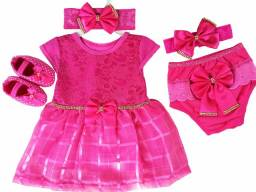Vestido Para Bebê Renda Baby Kit 5 Pçs Luxo Pink
