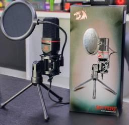 Microfone Redragon Seyfert GM100 XLR de 3.5 mm - Preto / Vermelho