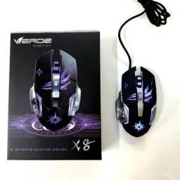 Mouse Gamer LED Com Fio USB 6 Botões 3200 DPI X8 (Atacado e Varejo)