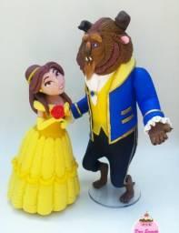 Escultura A Bela e a Fera em biscuit