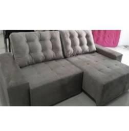 Sofá retrátil e reclinável com 2,45 largura bege e marron *