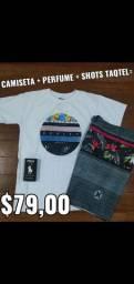 Kit camiseta + perfume + shorts tactel