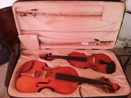 Case duplo + Viola 44cm + Violino 4/4