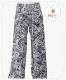 Calça Pantalona (Arabesco Preto e Branco)