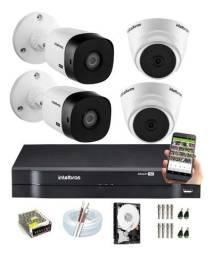Kit Intelbras Com 4 Câmeras 1120 B/D + Dvr Intelbras C/ Hd Completo Super Promoção