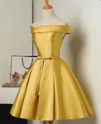 Vestido social dourado