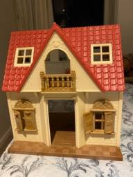 Título do anúncio: Kit casa sylvanian Families - casa telhado vermelho  luzes e primeira casa
