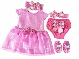 Vestido Para Bebê Renda Baby Kit 5 Pçs Luxo Rosa