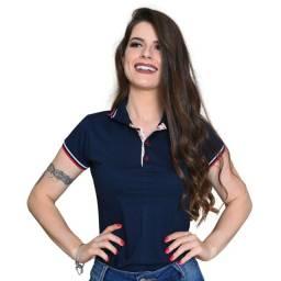 Título do anúncio: Camisa camiseta baby look gola polo feminina
