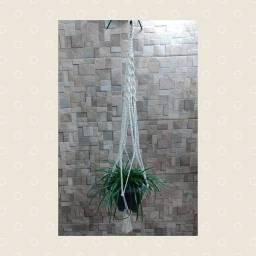Floreira De Macramê Plant Hanger Suporte Suspenso Cru