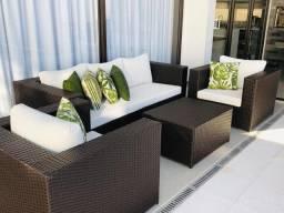 Conjunto de sofá quadrado 3 lugares em fibra sintética