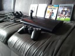 PS3 com 4 jogos e Fone bluetooth