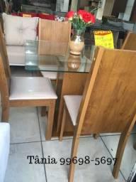 Conjunto sala jantar 4 cadeira 90 x 90 - tampo vidro - 100% mdf