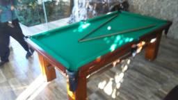 Mesa Madeira de Sinuca e Jantar Cor Imbuia Tecido Verde Mod. EQLK6222