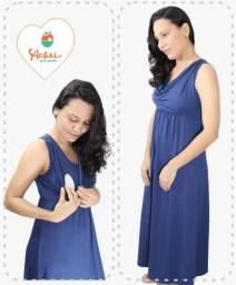 Vestido de amamentação sem manga longo (Azul)