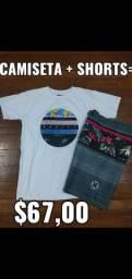 Kit camiseta + shorts tactel