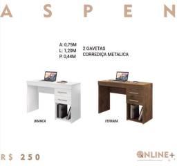 Mesa para computador com duas gavetas aspen