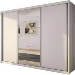 Guarda-roupa Casal com Espelho 3 Portas de Correr Paradizzo Gold ? Branco