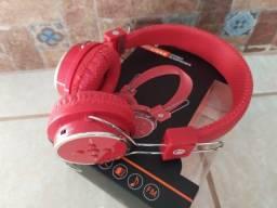 Título do anúncio: Fone Ouvido B-05 Vermelho - Bluetooth e Cartão de Memória