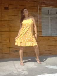 Vestido poá bolinhas forrado Promoção
