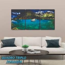 Quadro Decorativo triplo Ilha Paisagem Medindo 78cm largura x 38cm altura