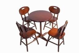 Jogo de mesa Madeira Resistente a Umidade - Cores Imbuia - Preto