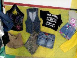 Shorts, jaquetas e blusas