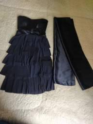 Vestido azul marinho com echarpe para festa, usado comprar usado  São Paulo