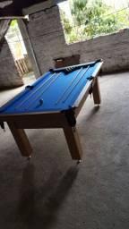 Mesa Tentação de Sinuca Cor Cerejeira Tecido Azul Mod. XNMQ7452